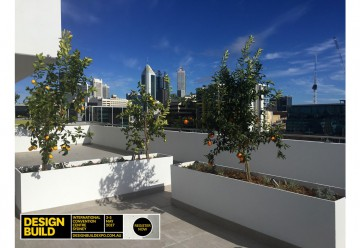 design build planter boxes on high rise building with plants