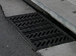 Cast iron kerb entry grate
